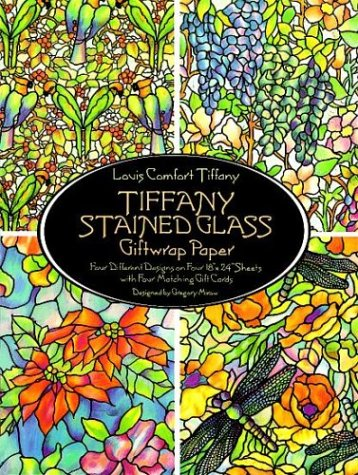 Tiffany Stained Glass Giftwrap Paper: Four Different Designs on Four 18