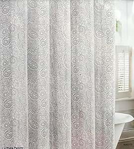 Nautica Fabric Shower Curtain Gray And White Paisley Pattern La Plata