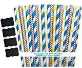 Outside the Box Papers Minion Themed Paper Straws - 7.75 Inches 100 Pack Blue, Yellow, Gray, White