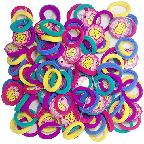 Hair Bands Small G-MEE 1.1 Inch 100 CT Cute Colorful Seamless Hair Accessories Hair Ties for Toddler Girl (Colour)