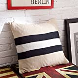 iSunShine® Cotton Knitted Decorative Cushion Cover Super Soft Square Warm Pillow, 17.5 by 17.5 Inch, Beige& Black, Pillowcase Only