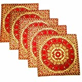 Kriti Creations Set Of 5 Royal Benarasi Red Cushion Covers (16*16 IN)