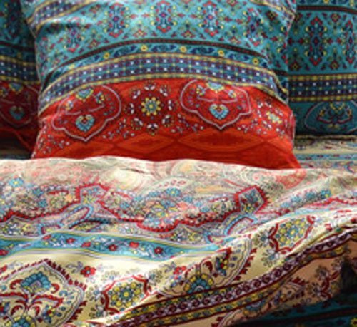 TideTex Bohemia Retro Printing 4PC Bedding Ethnic Vintage Floral Ornament Duvet Cover Boho Rural Style Bedding 100 Pure Cotton Home Textiles (Queen, Photo Color 5) 2