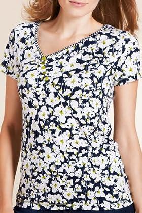 Per Una Ditsy Floral Print Top [T62-8428I-S]
