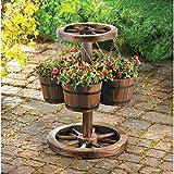 GHP Rustic Wagon Wheel Planter w/ Four Buckets