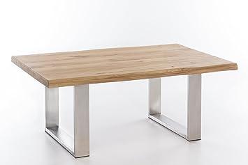 Couchtisch massiv Holz Wildeiche VENTUS 110x70 natur geölt, Edelstahl Tischuntergestell
