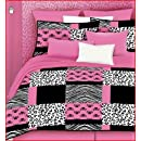 Veratex 457166 Pink Skulls Bed In A Bag Micro Fiber Pinkblackwhite Full