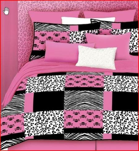 Black and pink bedding - Black white pink comforter ...