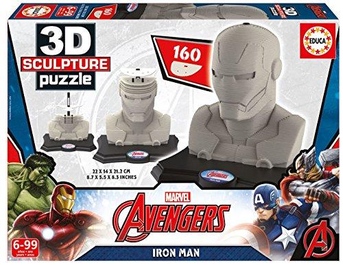 Educa Borrás-16884. 0-3D Sculpture Puzzle, motivo: Iron Man-160 pezzi