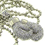 Men's Boxing Glove Necklace - Iced Out - Silver Plated - Heavy Bling