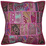 Home Decor Handmade Patchwork Embroidery Design Single Cushion Cover 18 X 18 Inches