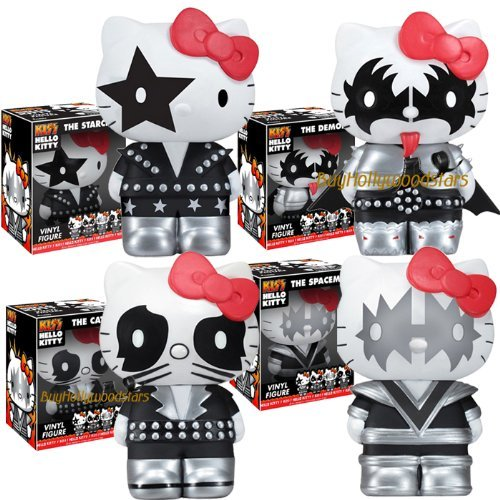 """Collector's 2011 Funko KISS & HELLO KITTY 5"""" Vinyl Figure Set of 4 in MINT BOXES"""
