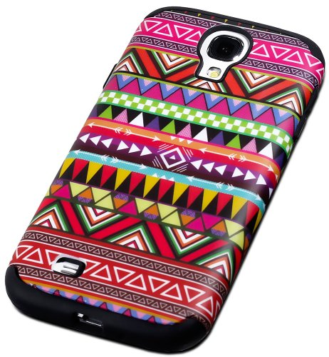 """Mylife (Tm) Black - Tribal Design (3 Piece Hybrid) Hard And Soft Case For The Samsung Galaxy S4 """"Fits Models: I9500, I9505, Sph-L720, Galaxy S Iv, Sgh-I337, Sch-I545, Sgh-M919, Sch-R970 And Galaxy S4 Lte-A Touch Phone"""" (Fitted Front And Back Solid Cover C"""