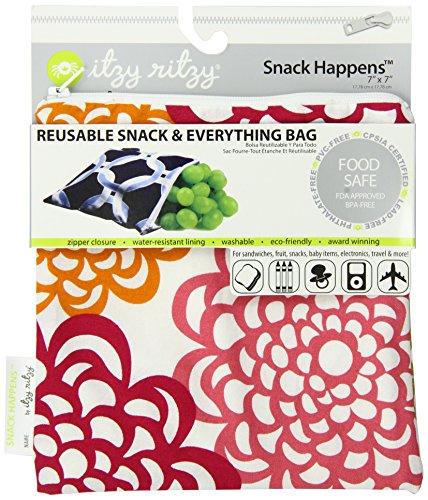 Itzy Ritzy Snack Happens Reusable Snack Bag, Fresh Bloom