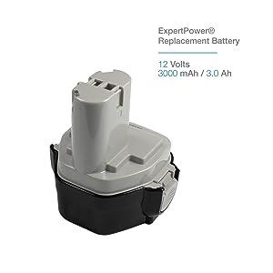 ExpertPower® 12v 3000mAh NiMh Extended Battery for Makita 1233 1234 1235 1235B 1235F 192696-2 192698-8 192698-A 193138-9 193157-5 (Color: Black, Grey, Tamaño: 1 - Battery)