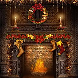 Yelewen 10x10ft Christmas Wreath & Fireplace Thin Vinyl Customized Digital Printed Photography Backdrop Prop Photo Background