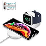 VRURC Wireless Charger for Apple Watch, 2-in-1 Charging Pad Stand Compatible for with for iPhone Xs/XS Max/XR/X/ 8/ Plus/Series 3/2/1 (Tamaño: 2018 NEW)
