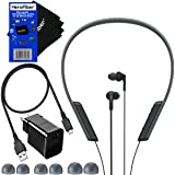 Sony MDR-XB70BT Extra Bass Wireless with Bluetooth and NFC In-Ear Headphones (Black) + USB Cable with Charger Wall Adapter + 4 Sizes Earbuds + HeroFiber Ultra Gentle Cleaning Cloth