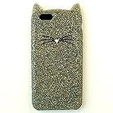 (ケイトスペード) katespade アウトレット iphone6/6s アイフォンケース WIRU0381 silicone case glitter cat グリッターキャット シルバー [並行輸入品]