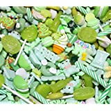 30 Pack Cute Candy Slime Beads Fruit Dessert Ice Cream Resin Charms Slices Flatback Buttons for Handcraft Accessories Scrapbooking Phone Case Decor (Green) (Color: Green, Tamaño: 10mm-25mm/0.39inch-1inch)