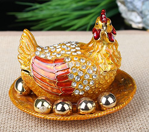 Golden Eggs & Chicken Box Crystals Jewelry, Trinket or Pill Box Frame (Gold) (Chicken Egg Bag)