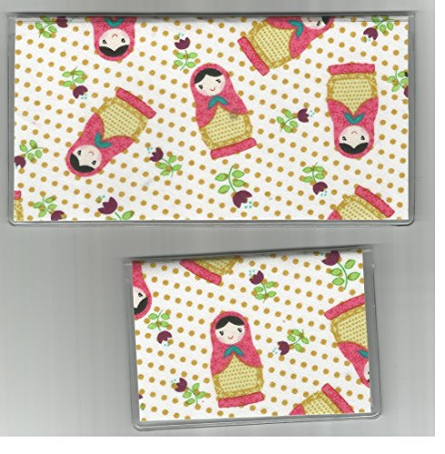 Russian Nesting Dolls Flowers Checkbook Cover Set front-66345