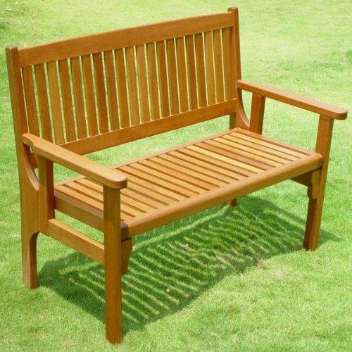 Garden Furniture / Patio Convenient Foldaway Two Seat Keruing Hardwood Bench
