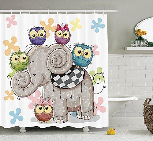Cartoon Decor Collection Cute Cartoon Elephant and Owls on a Floral Background Animal Love Big Eyes Boys Girls Decor Polyester Fabric Bathroom Shower Curtain Set Multi