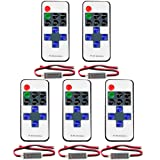 FAVOLCANO (5 Pack) Mini LED Controller Dimmer with 11 Key RF Wireless Remote Control DC 5~24V 12A for Single Color 3528 5050 LED Strip Lights (Color: Mixed color, Tamaño: R107)