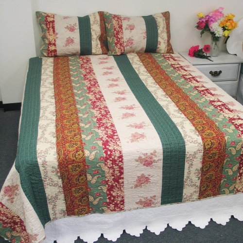 [Allover & Stripes] 100% Cotton 3PC Floral Vermicelli-Quilted Patchwork Quilt Set (Full/Queen Size)