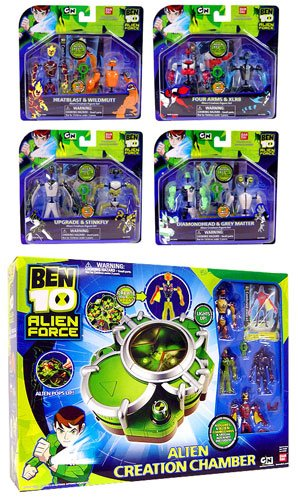 Picture of Bandai Ben 10 (Ten) Alien Creation Chamber Set of 4 Mini Figure 2-Packs and Alien Creation Chamber (B001CWIFVG) (Ben 10 Action Figures)