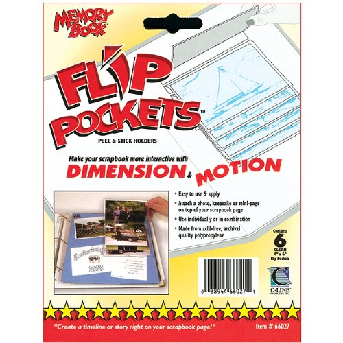 C-Line Flip Pockets Peel and Stick Holders, 6/Pkg, Clear, 4-Inch by 6-Inch