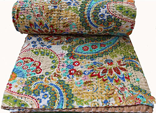 Fantastic Deal! Mango Gifts Pure Cotton Kantha Style Twin Size Quilt Bed Spread WITH COVER, Indian G...