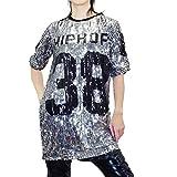 □■IC60388 スパンコールビッグTシャツ フリー シルバー   ダンス 衣装 ヒップホップ スパン 半袖 大きいサイズ ロング ナンバー