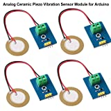 MakerHawk 4pcs Analog Ceramic Piezo Vibration Sensor Module 3.3V/5V for Arduino DIY Kit