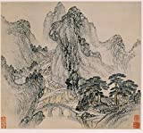 "INK WASH Unframed Chinese Mountain Nature Scenes Landscape Painting Wall Art Prints 21""x20"""