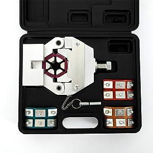 HYYKJ Hydraulic Hose Crimper 71550 Automotive A/C Air Condtioning Hose Crimper Kit Universal Hand Crimping Repair Repairing Tool with 4 Dies Set US (Color: Black, Tamaño: 13'' x 11.4'' x 4.3'')