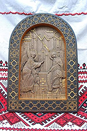 Wooden Carved Religious icon Annunciation wall art spiritual gift