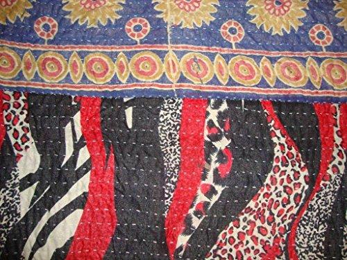Manta para cama Vintage Kantha indio algodón hecho a mano de flores de colcha Reversible Ethnic Sari tela bordado manta Gudari ropa de cama