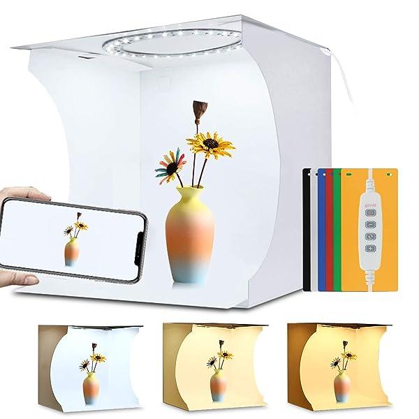 PULUZ 31cm Ring Light Photo Studio Light Box, Adjustable Portable Photography Shooting Light Tent Kit with White/Warm/Soft Lighting 80pcs LED Lights + 6 Backdrops for Product Display (Color: 31cm Ring Light Light Box)