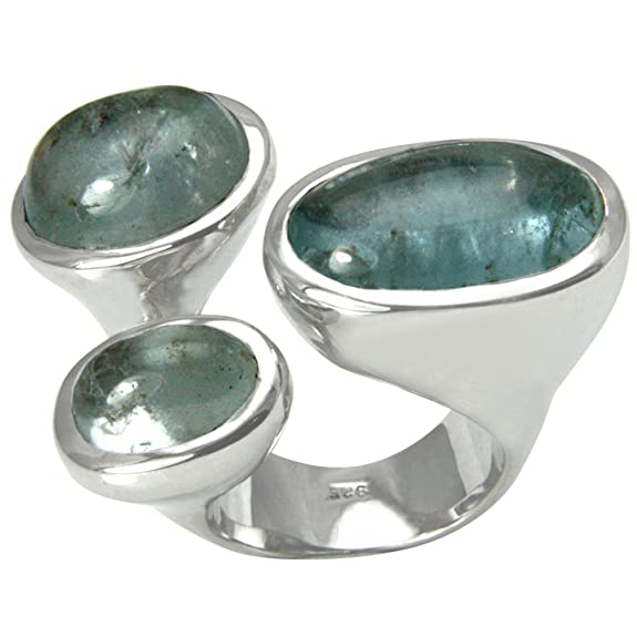SKIELKA DESIGNSCHMUCK 925 Sterling Silver Ring with Genuine light-blue transparent Aquamarine Cabochons - with an Expertise - Goldsmith Quality
