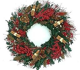 Elegant Cinnamon Boxwood Holiday Wreath 22 inches