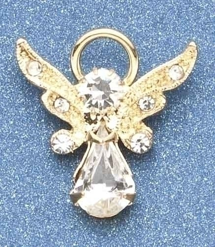 Pack of 8 Religious April Birthstone Jeweled Angel Pins 1