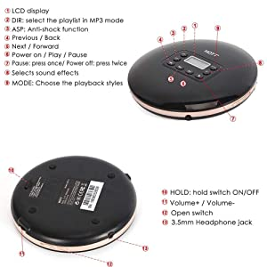 Rechargeable Portable CD Player,HONGYU Personal Disc Player with LCD Display, Compact Anti-Shock Anti-Scratch Skip Protection Memory Feature Small Music Walkman CD Player for Kids&Adults (Color: CD Player cd711-Black)