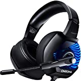 ONIKUMA II Stereo Gaming Headset for PS4, Xbox One, PC, Nintendo Switch, Noise Cancelling Over Ear Headphones with Microphone, Soft Earmuffs, Surround Sound, Volume/Mic Control 3.5mm for Laptop Mac (Color: blue, Tamaño: 2*2*3)