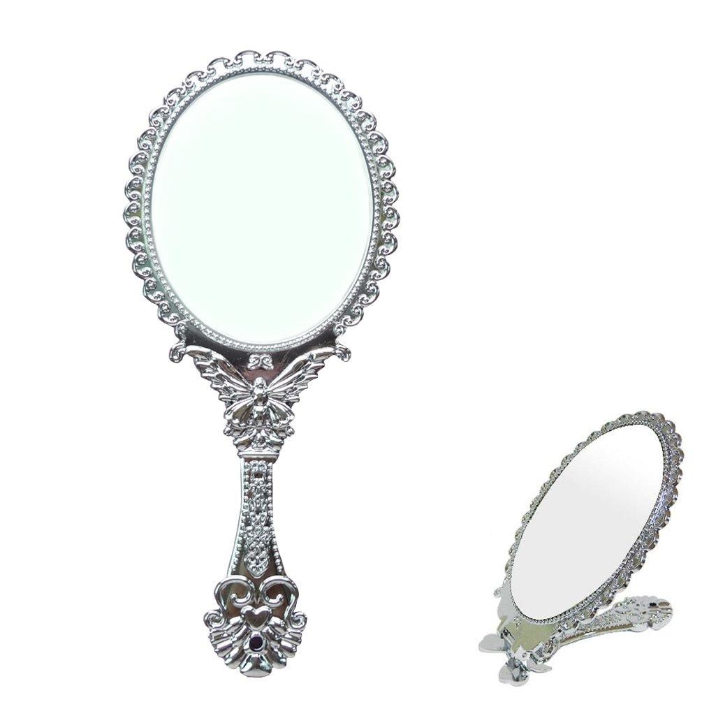 Sevenstars Decorative Vintage Style Silver Tarnish Free Hand Held Folding Mirror 0