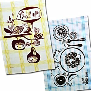 Blue Q - Dish Towel Duo: Tidy Up and Rise and Shine, 100% Cotton