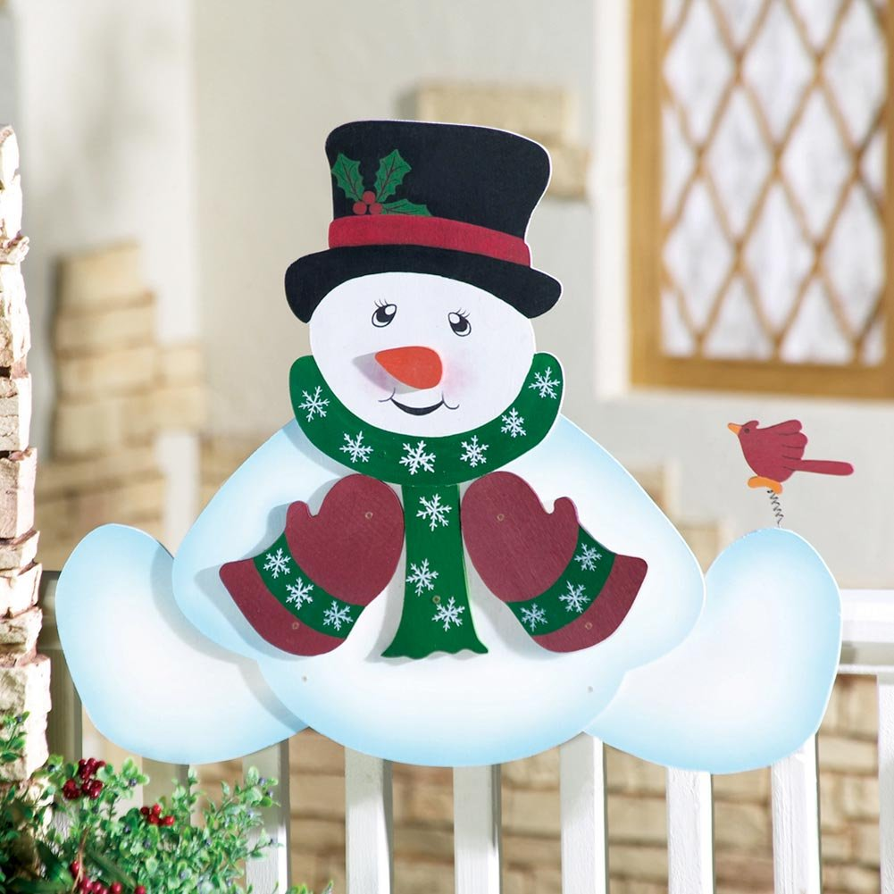 Snowman fence decorations christmas wikii for Christmas snowman decorations