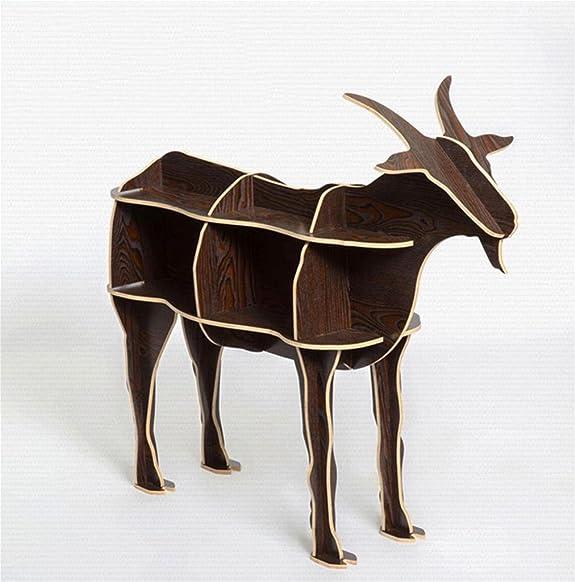 DZW Log Goat tavolino da tavolo da modellare animali Vetro creativo decorazione in legno Decorazioni domestiche 118,5 * 94cm , black walnut, Legno da costruire