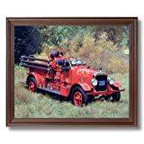 Vintage 1922 Fire Truck Engine Seagraves Wall Picture Cherry Framed Art Print
